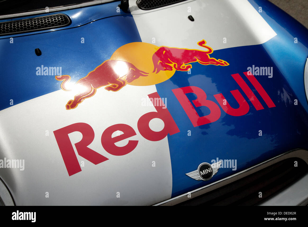 Red Bull energy drink mini car close up, UK Photo Stock