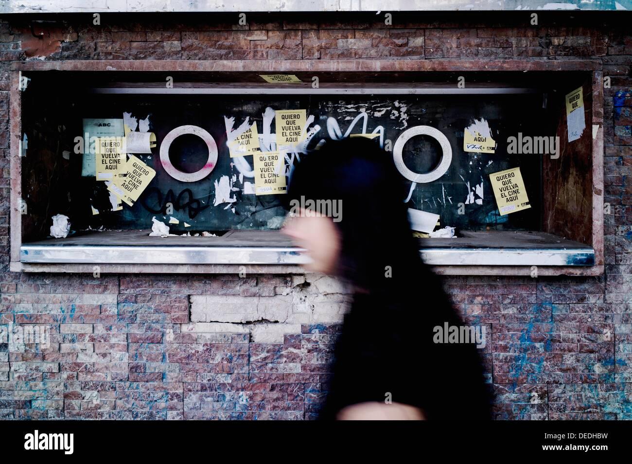 Un box office cinéma abandonné et fermé, Valence Photo Stock
