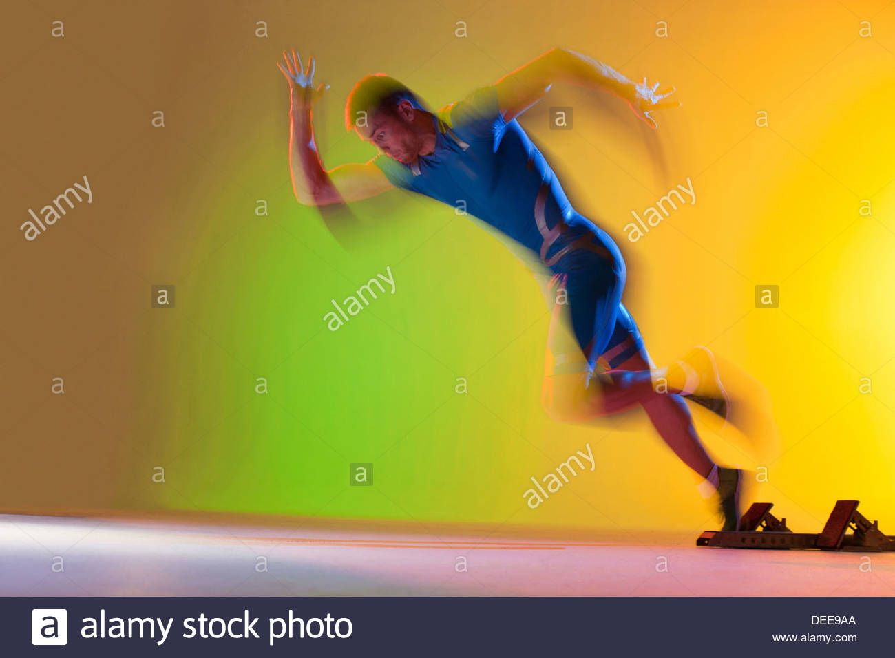 Vue brouillée de l'exécution de l'athlète Photo Stock