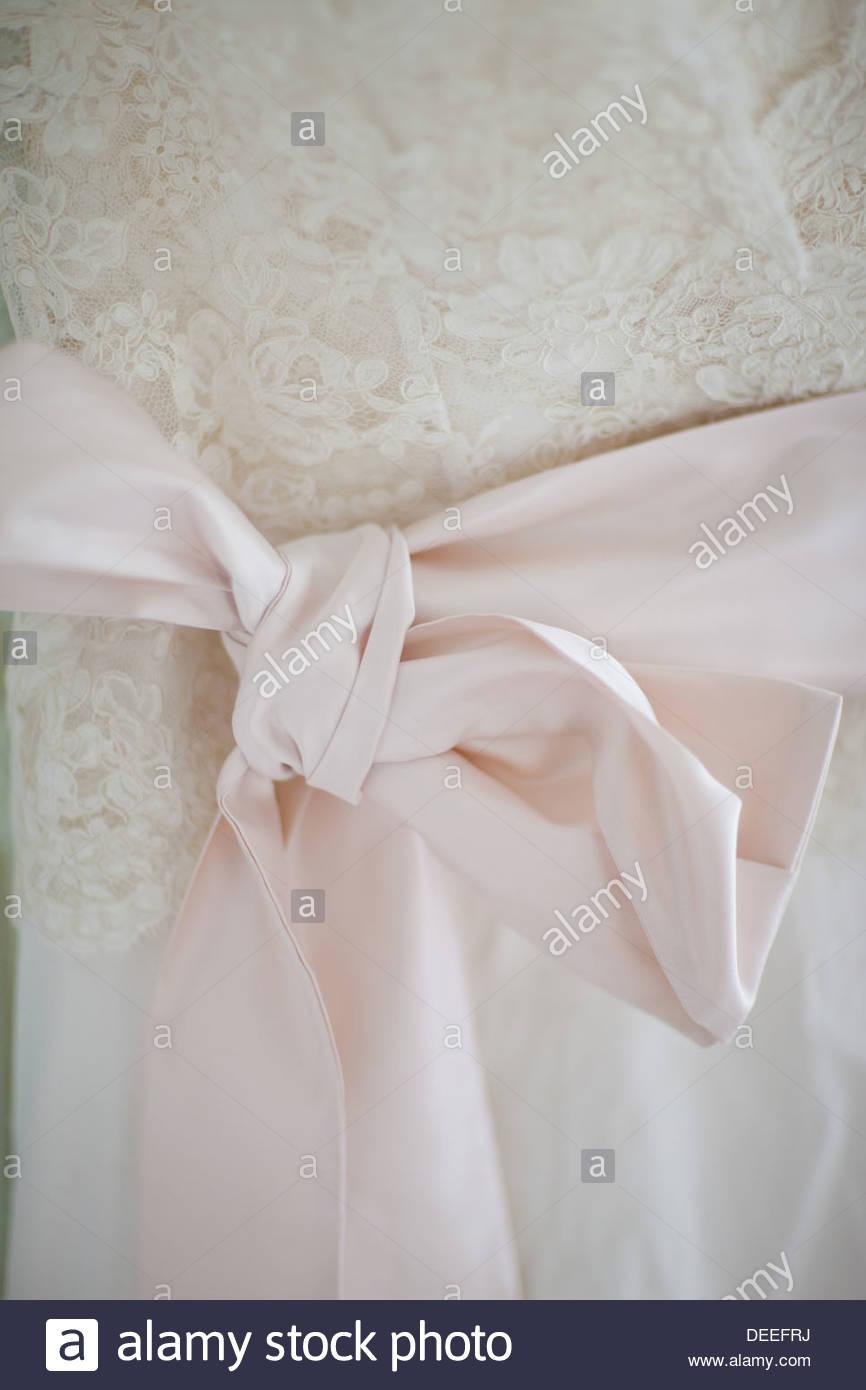 Noeud sur robe de mariage Photo Stock