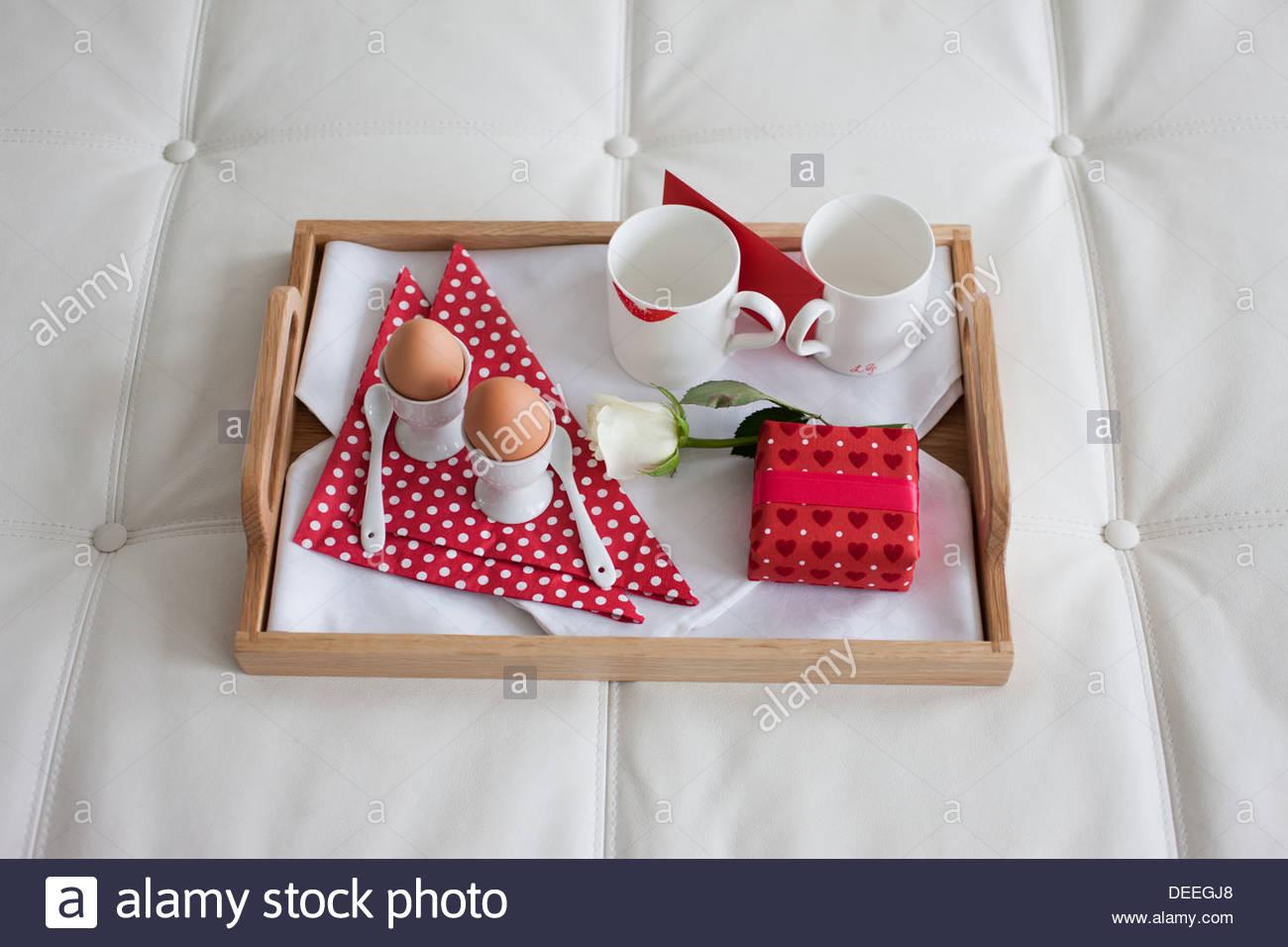 Valentine's Day breakfast tray Photo Stock