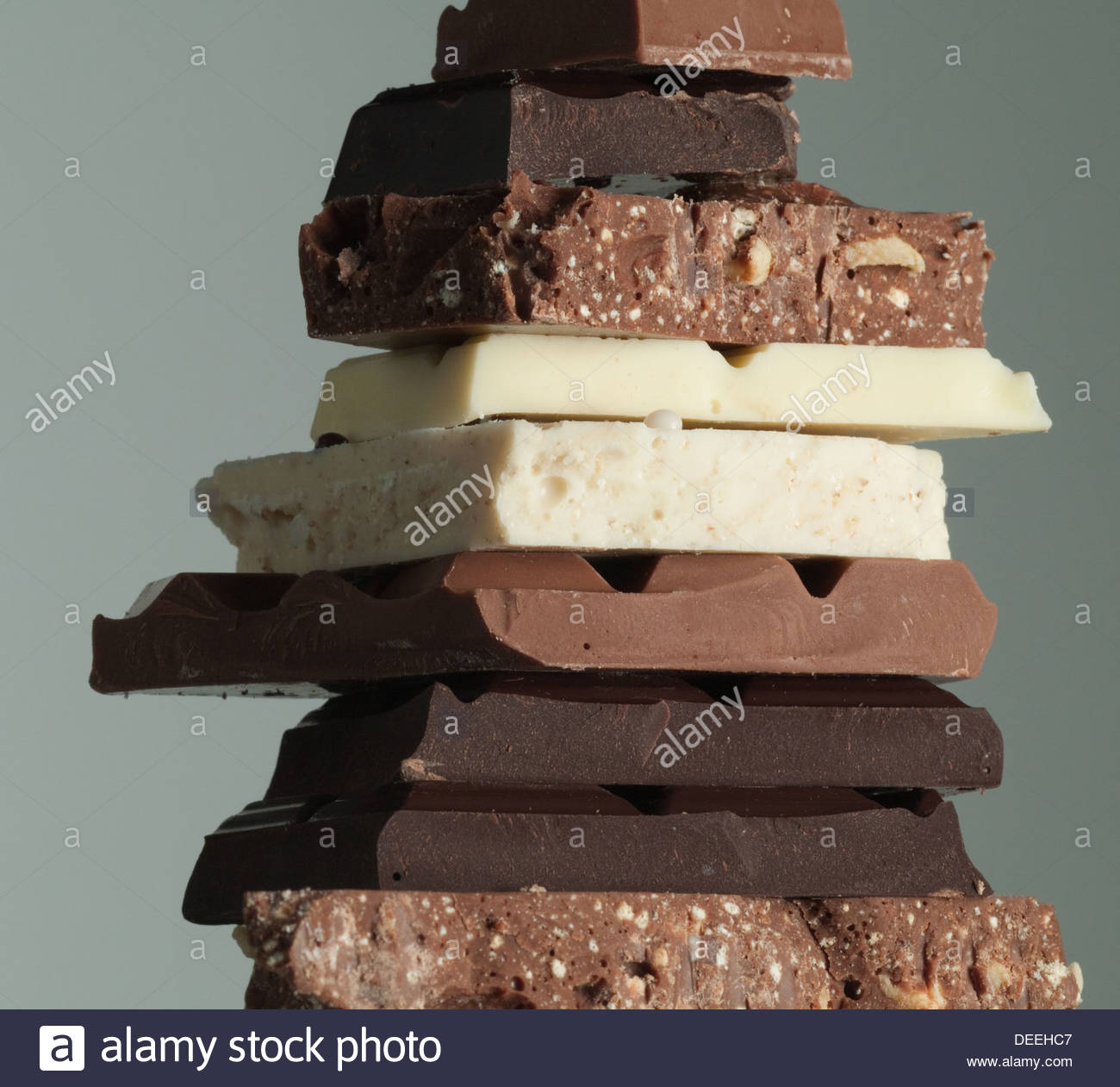 Pile de barres de chocolat Photo Stock