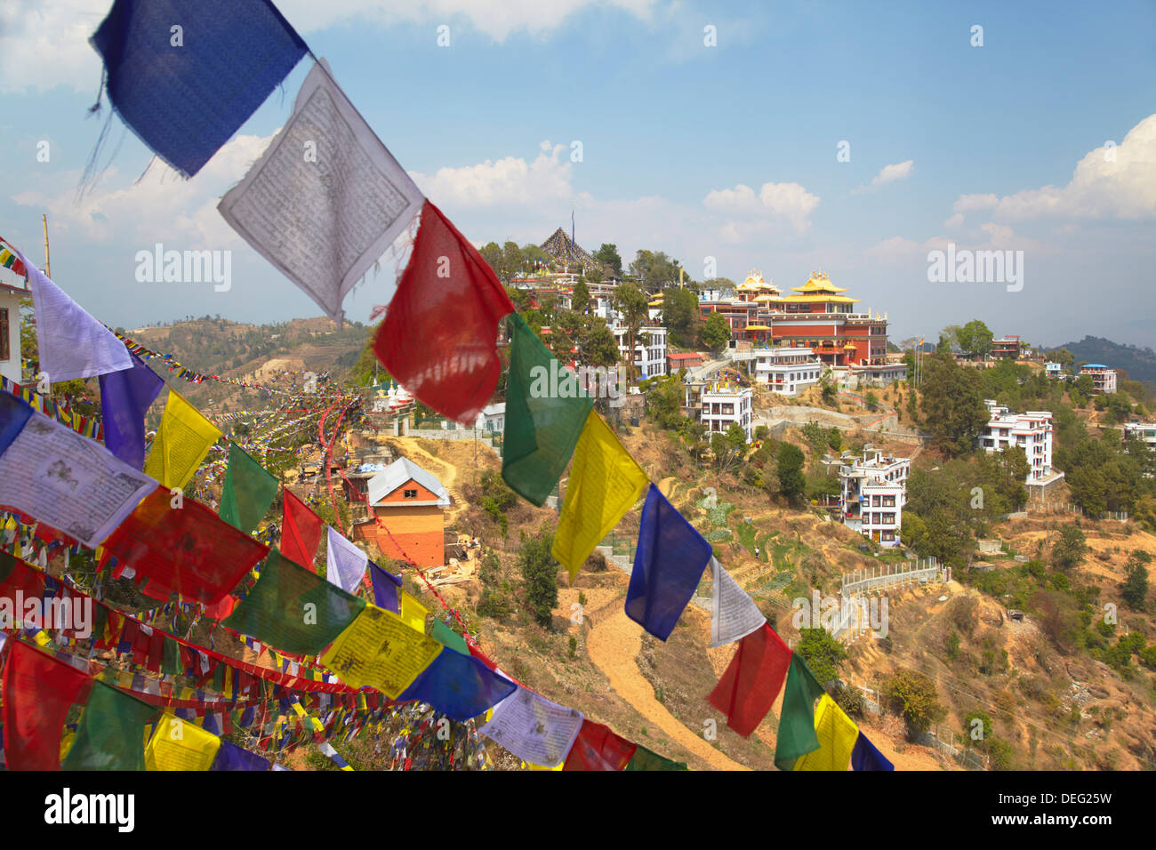 L'intérieur du monastère Thrangu Tashi Yangtse Namobuddha, complexe Dhulikhel, Vallée de Kathmandou, Népal, Asie Photo Stock
