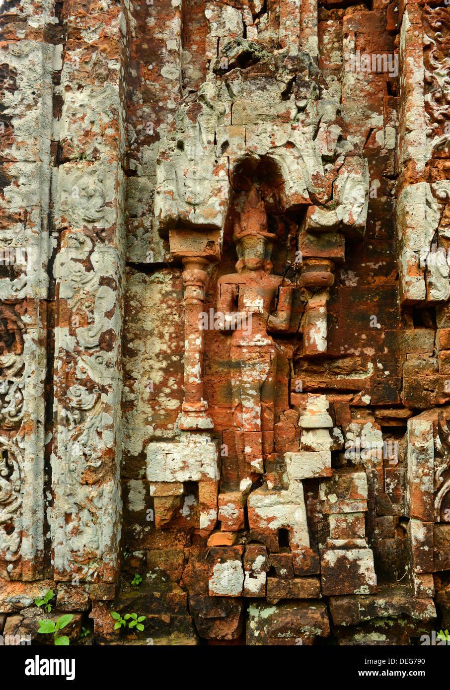 Détail de Temple 5B, de l'art Cham, mon fils, Site du patrimoine mondial de l'UNESCO, le Vietnam, l'Indochine, l'Asie du Sud-Est, Asie Photo Stock