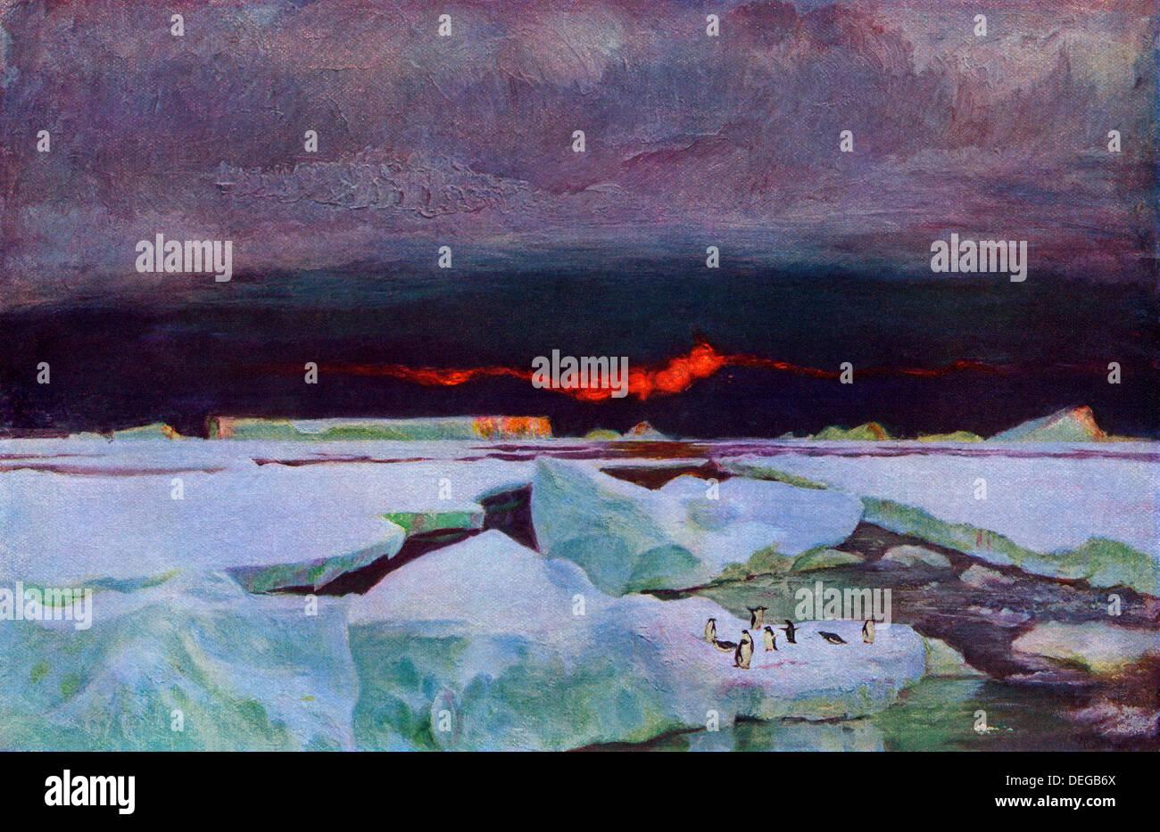 Coucher du soleil sur l'Antarctique, 9:00 p.m., février 1902. Demi-teinte couleur reproduction d'une peinture de F.W. Stokes Photo Stock