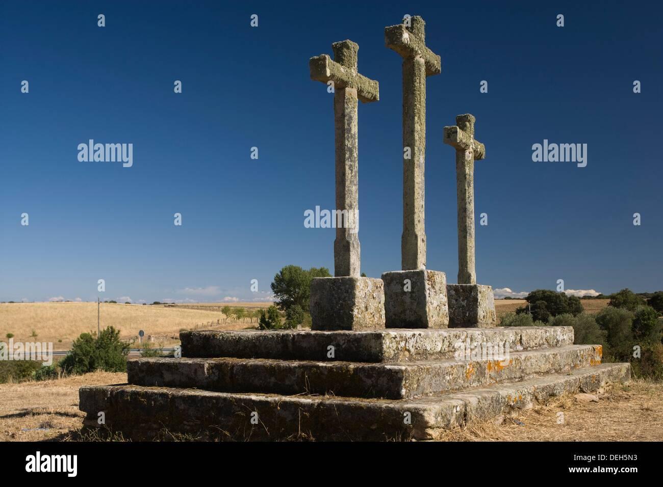 Croix, humble, Cerralbo province de Salamanque, Castille et León, Espagne Photo Stock