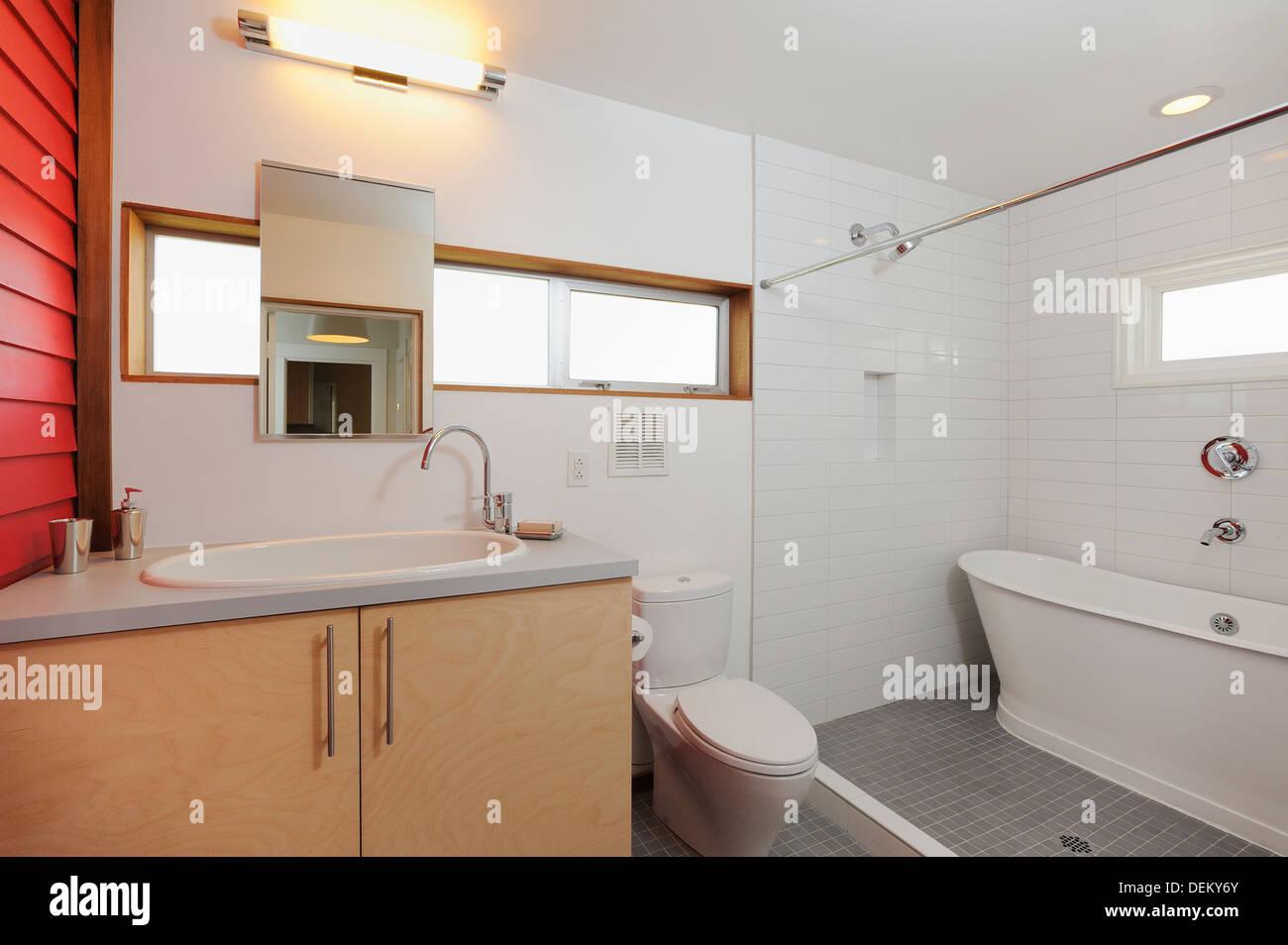 Lavabo, wc et baignoire dans la salle de bains moderne ...