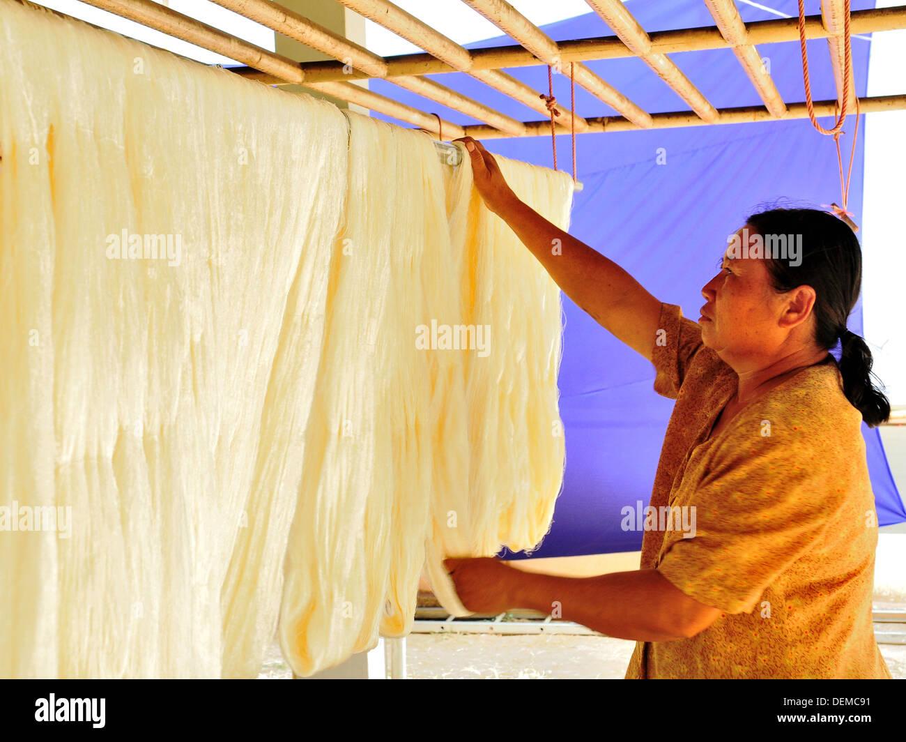 L'industrie de la soie en Thaïlande Photo Stock