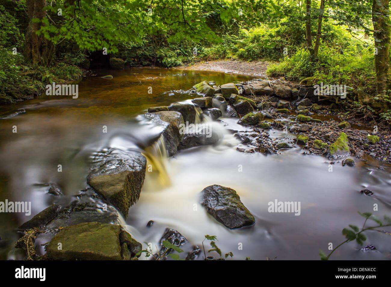 L'exposition à long shot de la rivière qu'il dégringole à travers Rivelin la vallée Rivelin à Sheffield. Banque D'Images