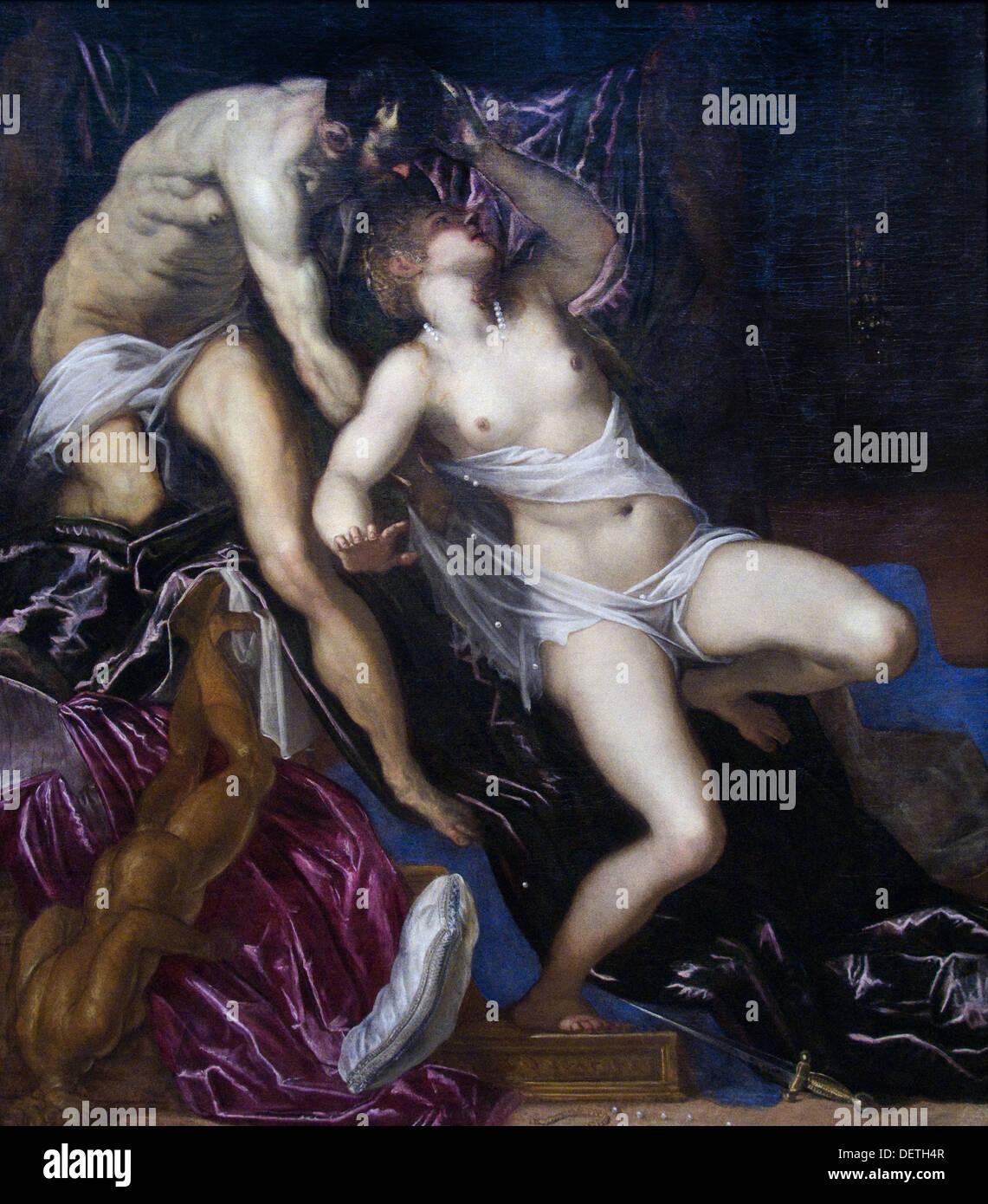 Jacopo Tintoretto robuste - Tarquin et Lucrèce - 1580 - L'Art Institute de Chicago Photo Stock