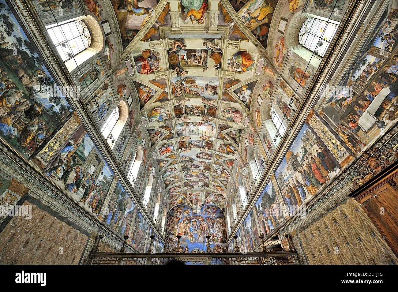 Des Peintures Au Plafond De La Chapelle Sixtine Vatican Rome