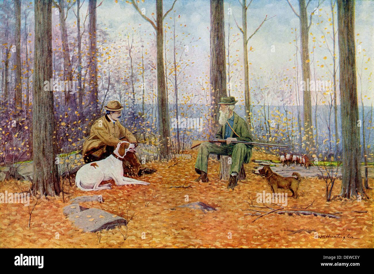 Jeunes et moins jeunes sportifs avec leurs chiens d'oiseaux à l'automne bois, vers 1900. Lithographie en couleur d'un A.B. Frost illustration Photo Stock