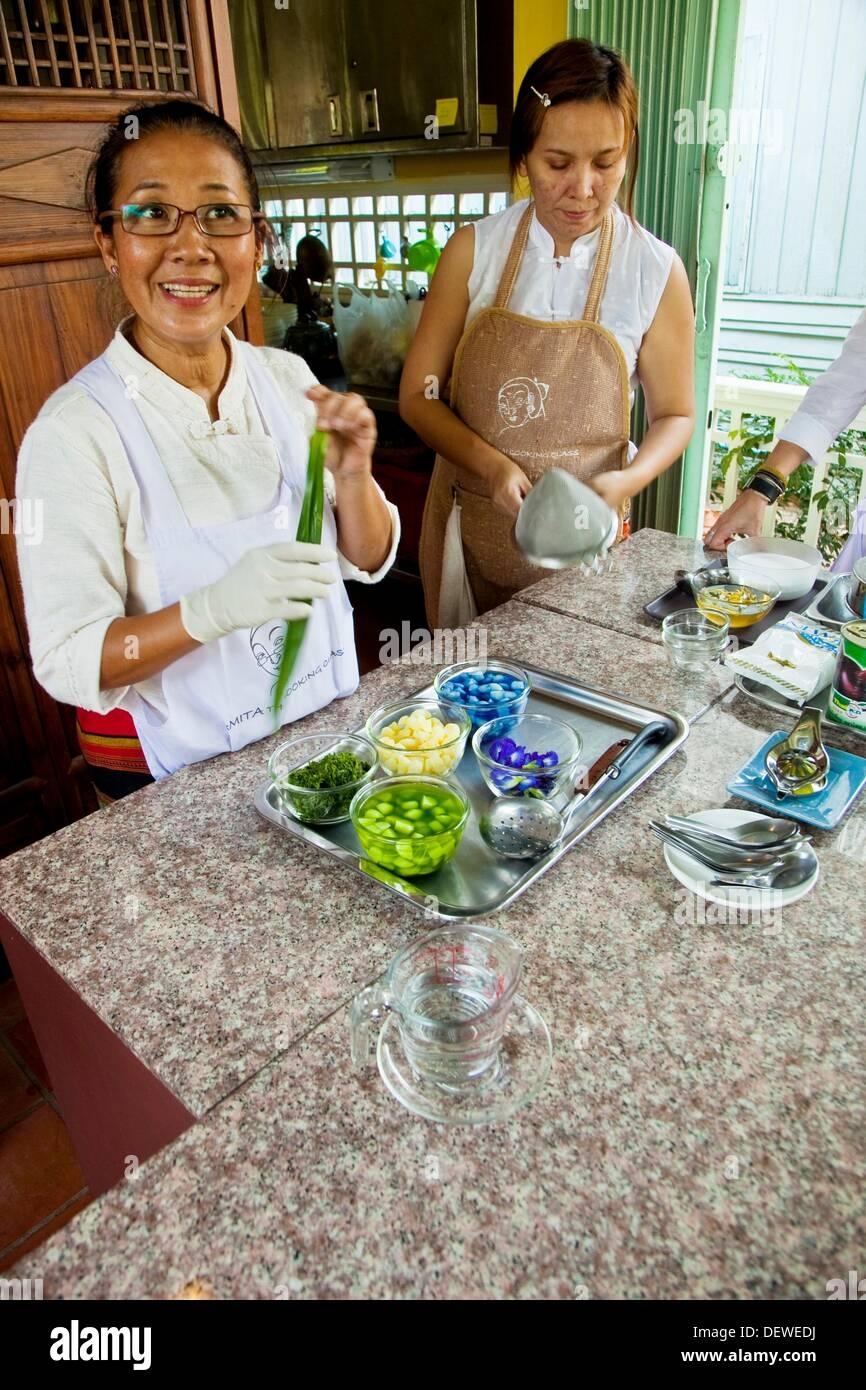 Thai Cooking School Amita de cuisine thaïlandaise Bangkok en Thaïlande. Photo Stock