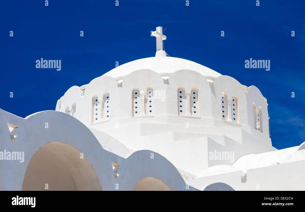La Cathédrale Orthodoxe métropolitaine dans la ville principale de Fira Santorin Grèce Europe Photo Stock
