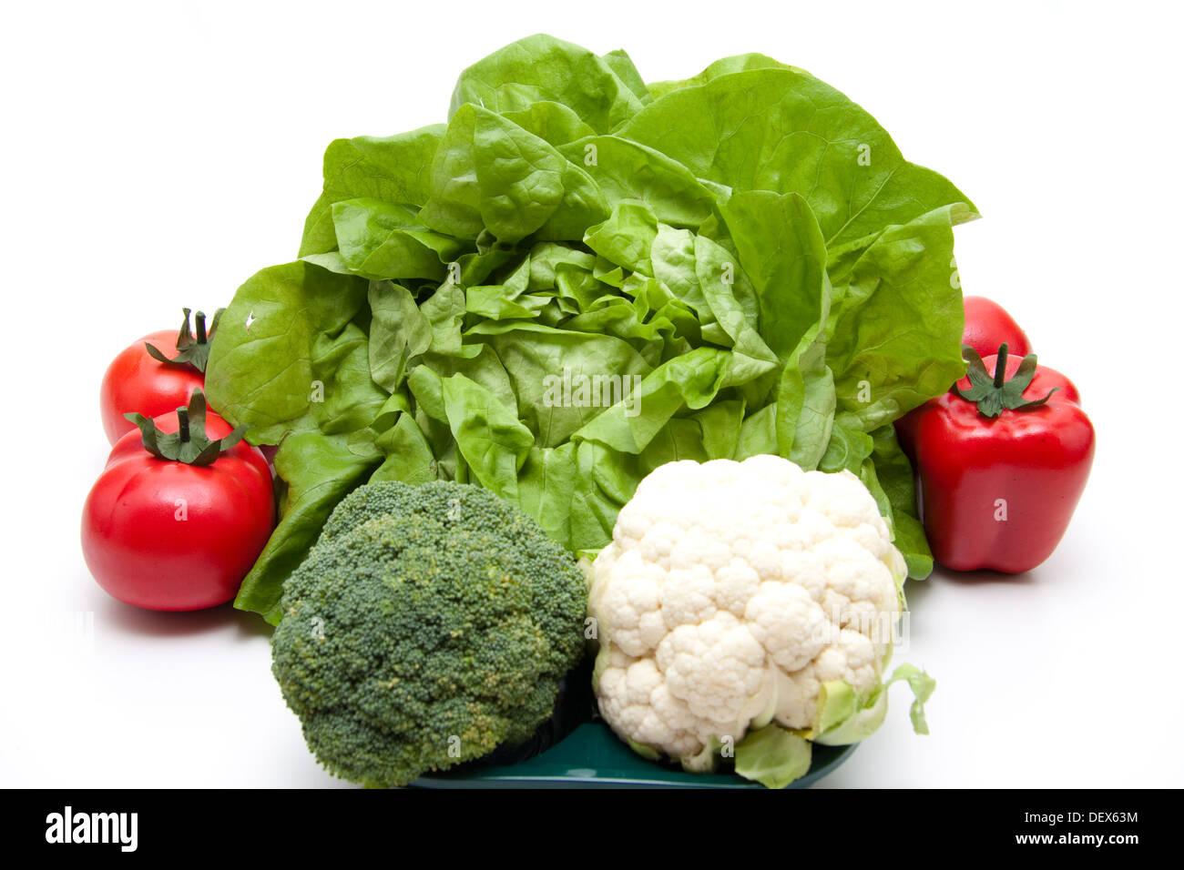 Salade de tête de fleurs et de paprika char Banque D'Images