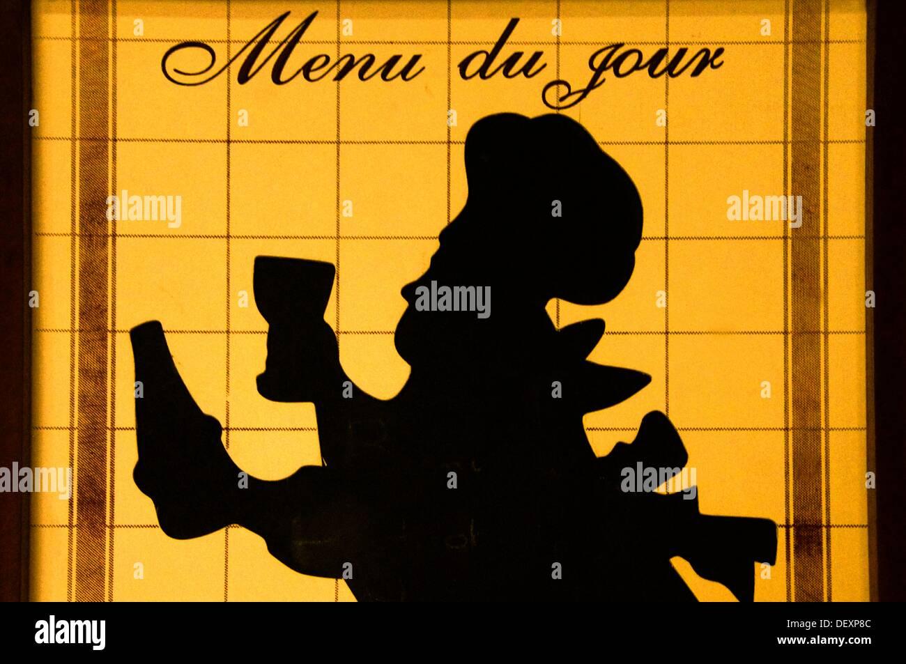 """Menu se connecter au """"Bistrot de pays"""", Panjas, Gers, Midi-Pyrénées, France Photo Stock"""