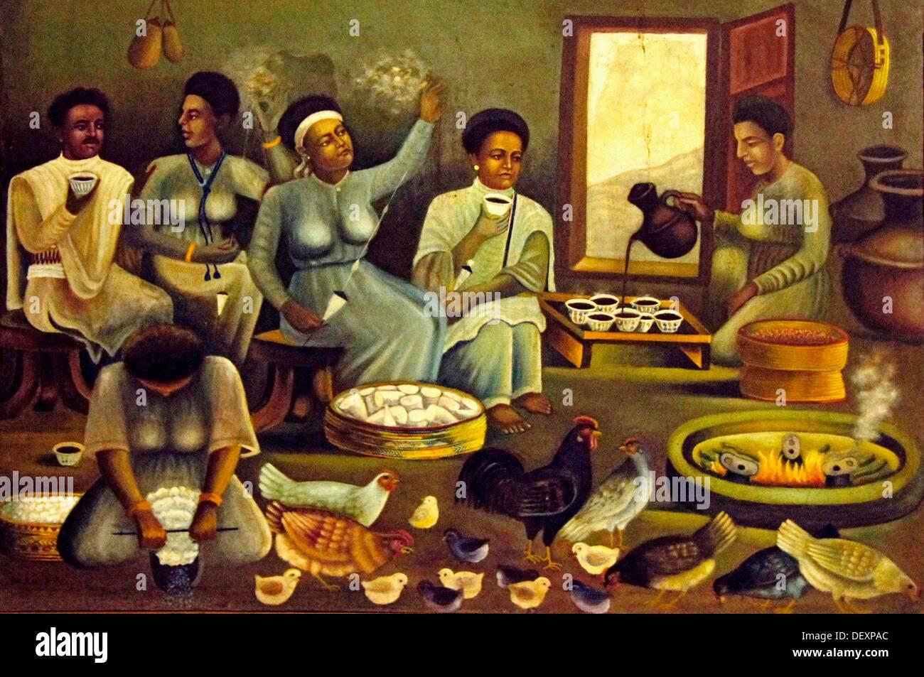 """""""Musée Ethno' à Addis-Abeba artiste: impression d'une cérémonie du café dans un village, en Ethiopie Photo Stock"""