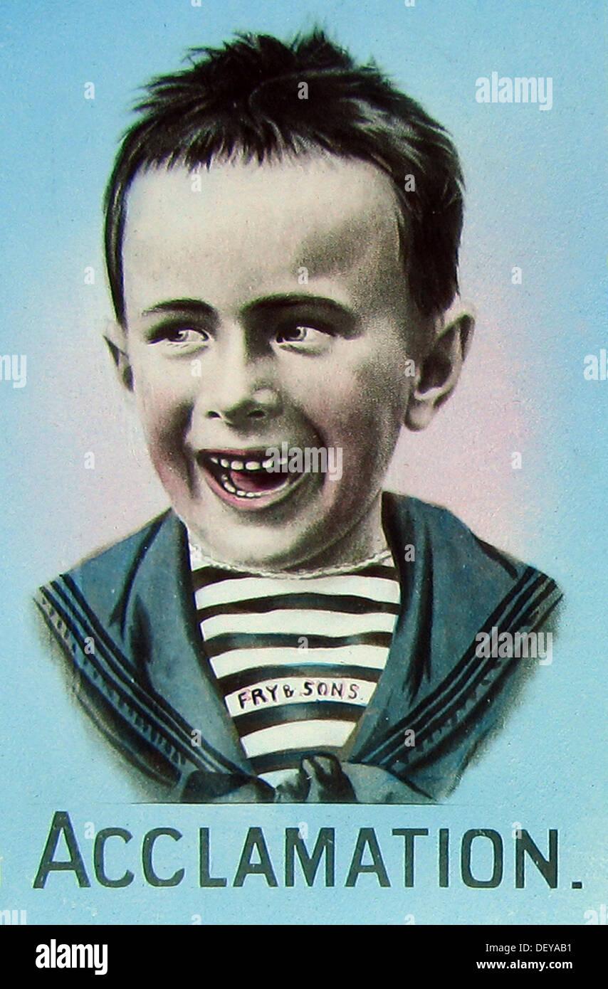 Publicité pour Fry's Chocolate cinq garçons début des années 1900 Photo Stock