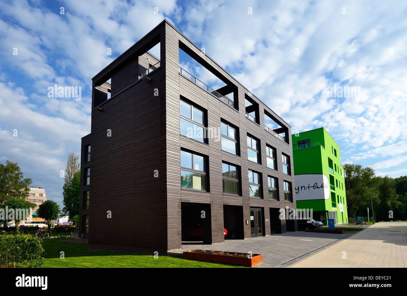 IBA de la construction du projet Étude de cas 1 dans le château de Wilhelm, Hambourg, Allemagne, Europe, IBA-Bauprojekt Étude de cas 1 à Wilhelmsburg, De Photo Stock