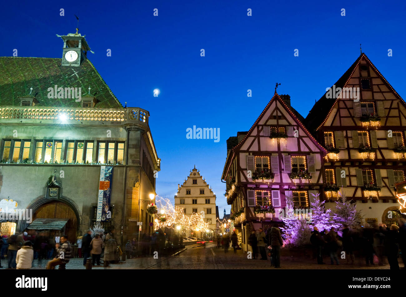 Quartier historique de Colmar avec décoration de Noël, Alsace, France, Europe Photo Stock