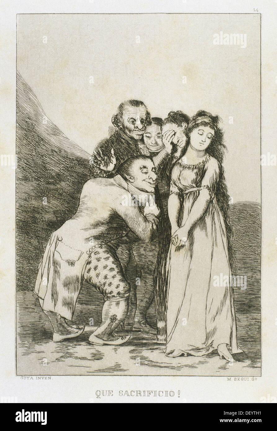 Francisco de Goya (1746-1828). Peintre et graveur espagnol. Los Caprichos. Que Sacrificio... (Quel Sacrifice...). Numéro 14. Photo Stock