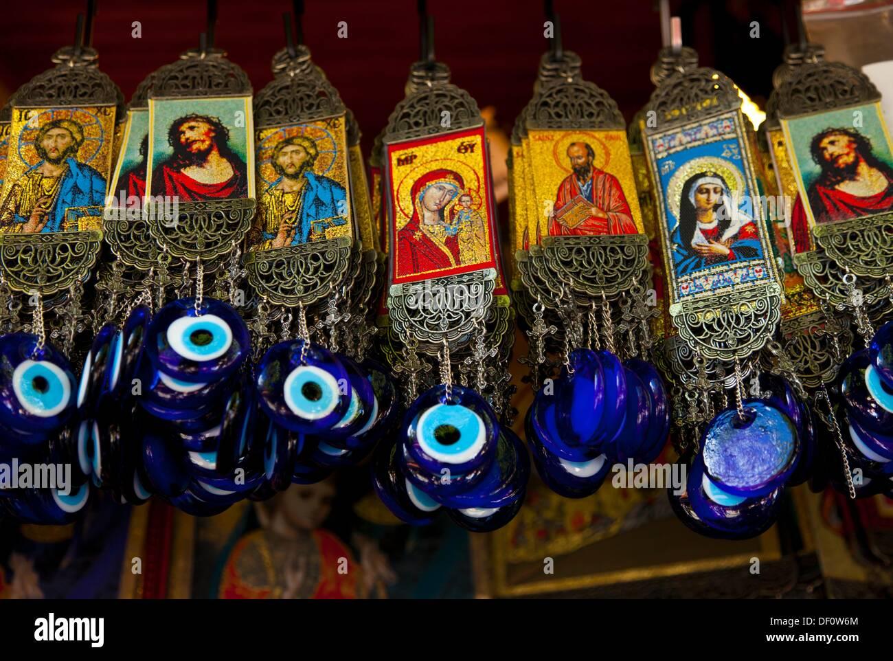 Souvenirs de la Sainte Maison de la Vierge Marie, Selçuk Village, ce moment à Izmir, Izmir, région du Plateau d'Anatolie, en Turquie. Photo Stock