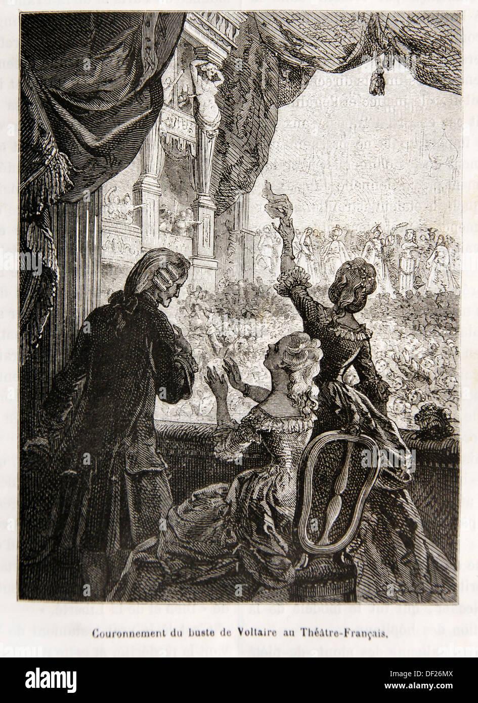 Couronnement de Voltaire au Théâtre Francais (18ème siècle), France Photo Stock