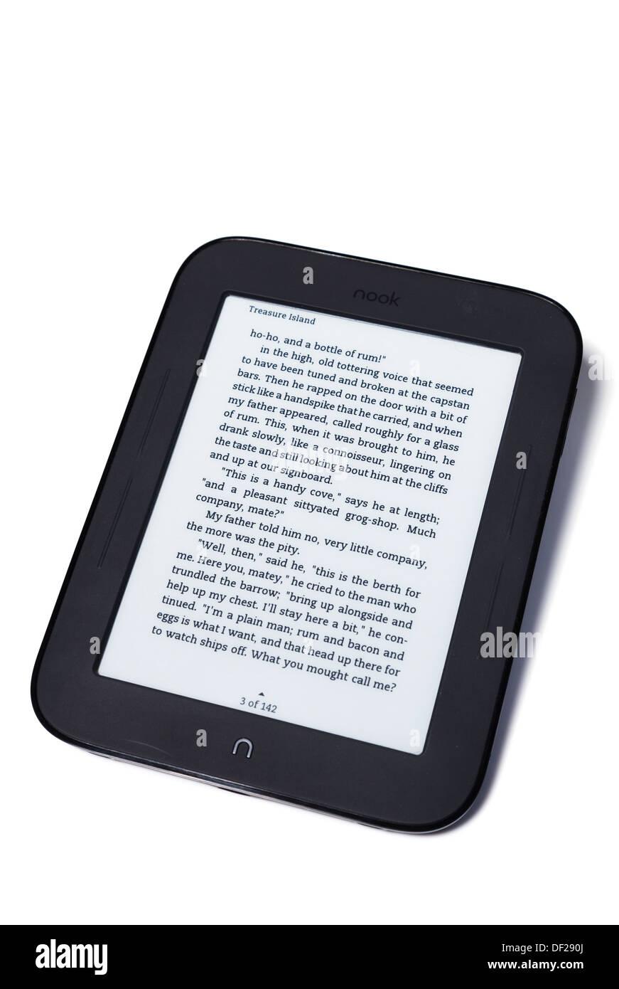 Studio nook e-reader on white Photo Stock
