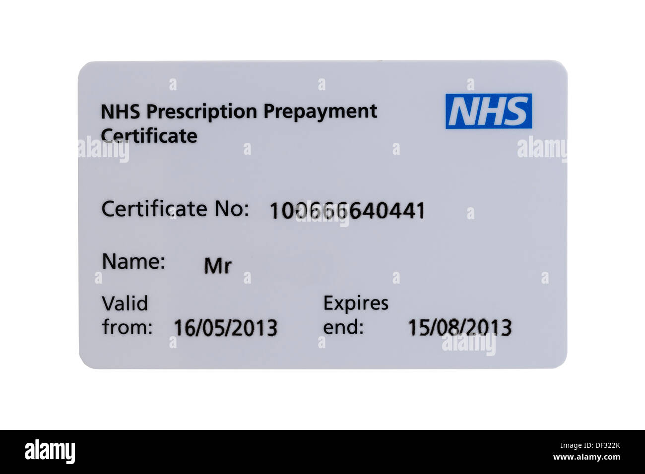 Une prescription NHS carte Certificat de remboursement anticipé sur un fond blanc Photo Stock