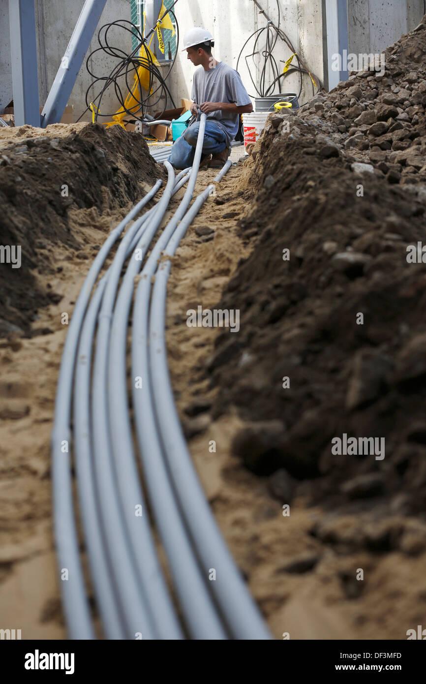 Électricien construction site Photo Stock