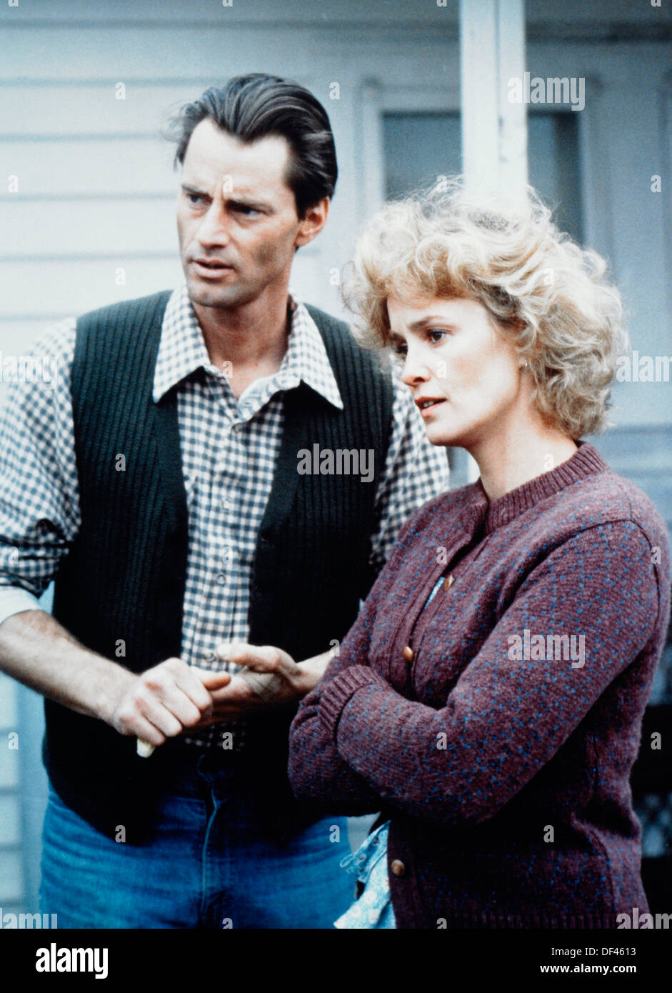 Sam Shepard et Jessica Lange, On-Set du film, 'Pays', 1984 Photo Stock