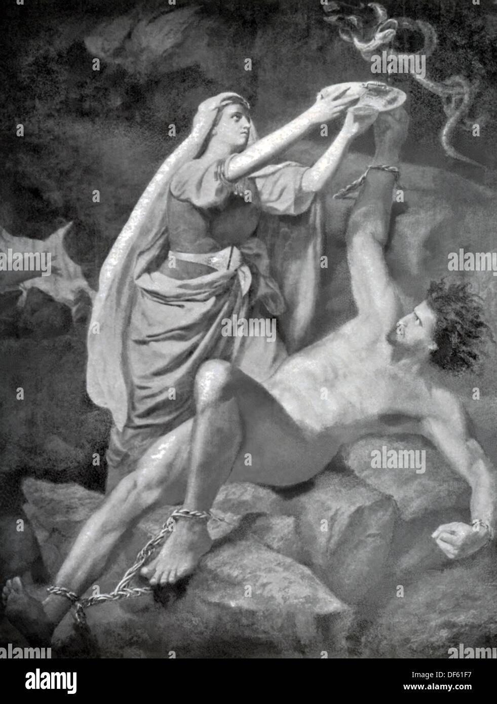 Dans la mythologie nordique, Loki épouse Sigyn recueillis le venin dans un bol, mais a dû le vider périodiquement. Photo Stock