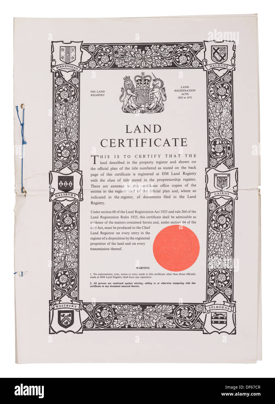 UK Land Registry certificat foncier document propriété Photo Stock