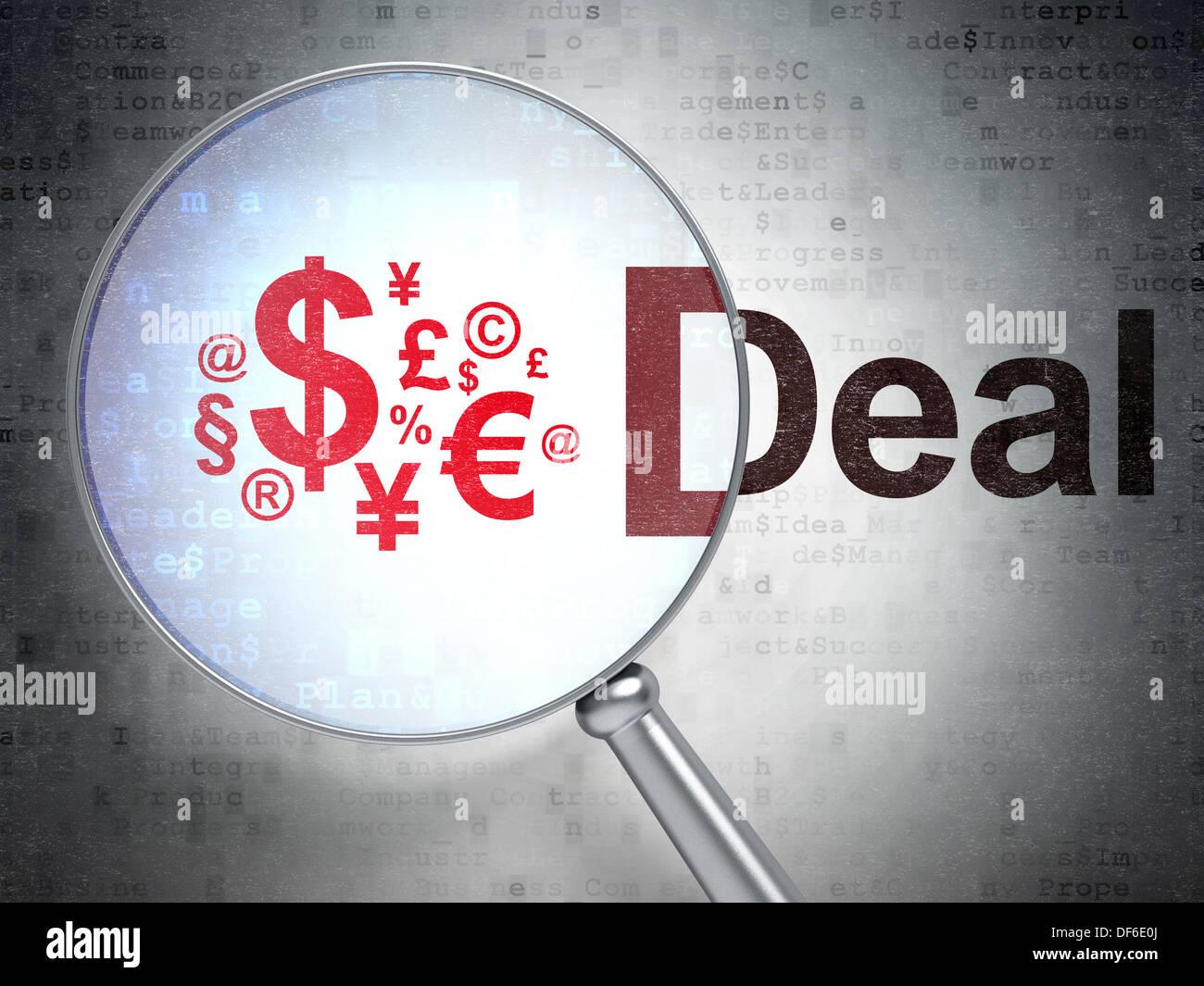 Concept d'entreprise: Finances Symbole et traiter avec du verre optique Photo Stock