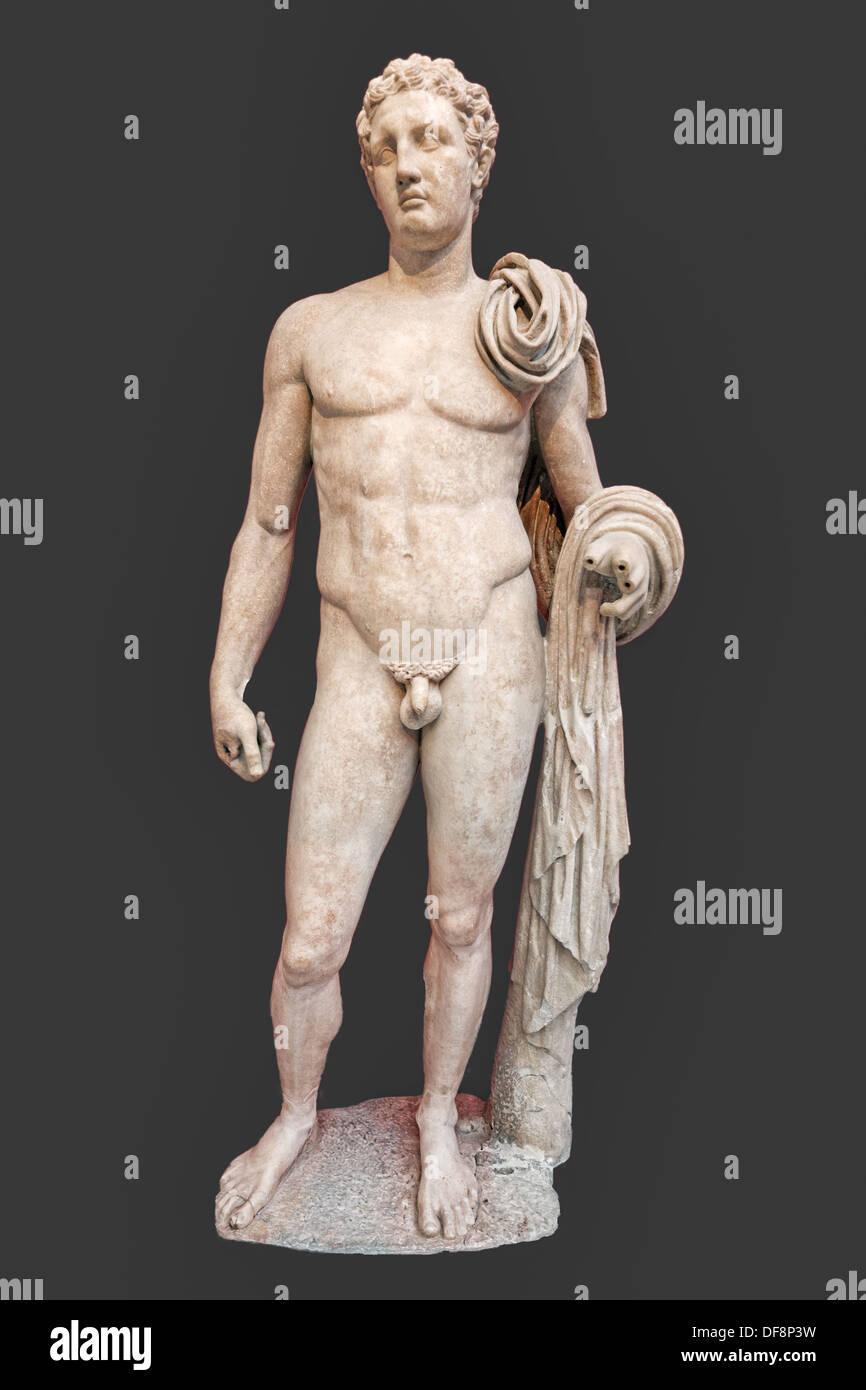 Statue en marbre de Atalante Hermes (2e 100. A.D.) en Musée National, Grèce Photo Stock