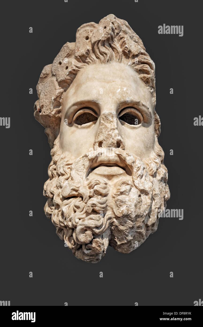 En tête colossale de Zeus (150 B.C.) en Musée National, Grèce Photo Stock