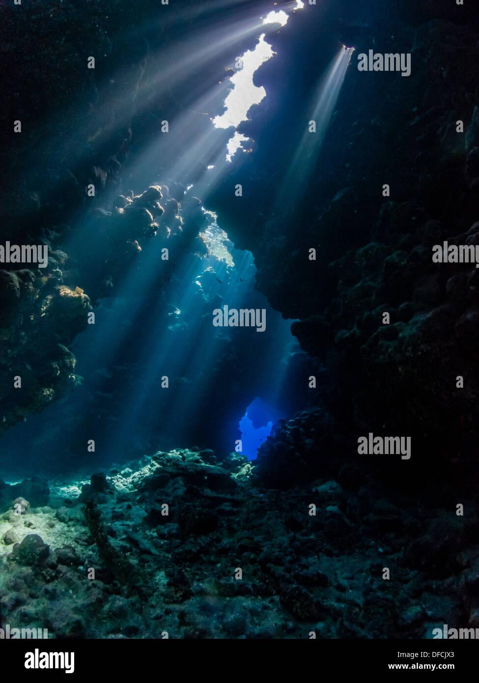 La plongée dans la belle lumière de spectaculaires passages & Sha'ab Claudio, Egypte Photo Stock