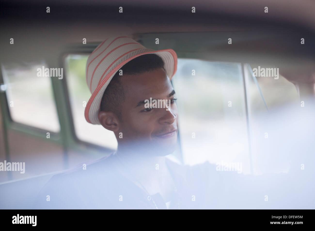 Smiling man driving van Photo Stock