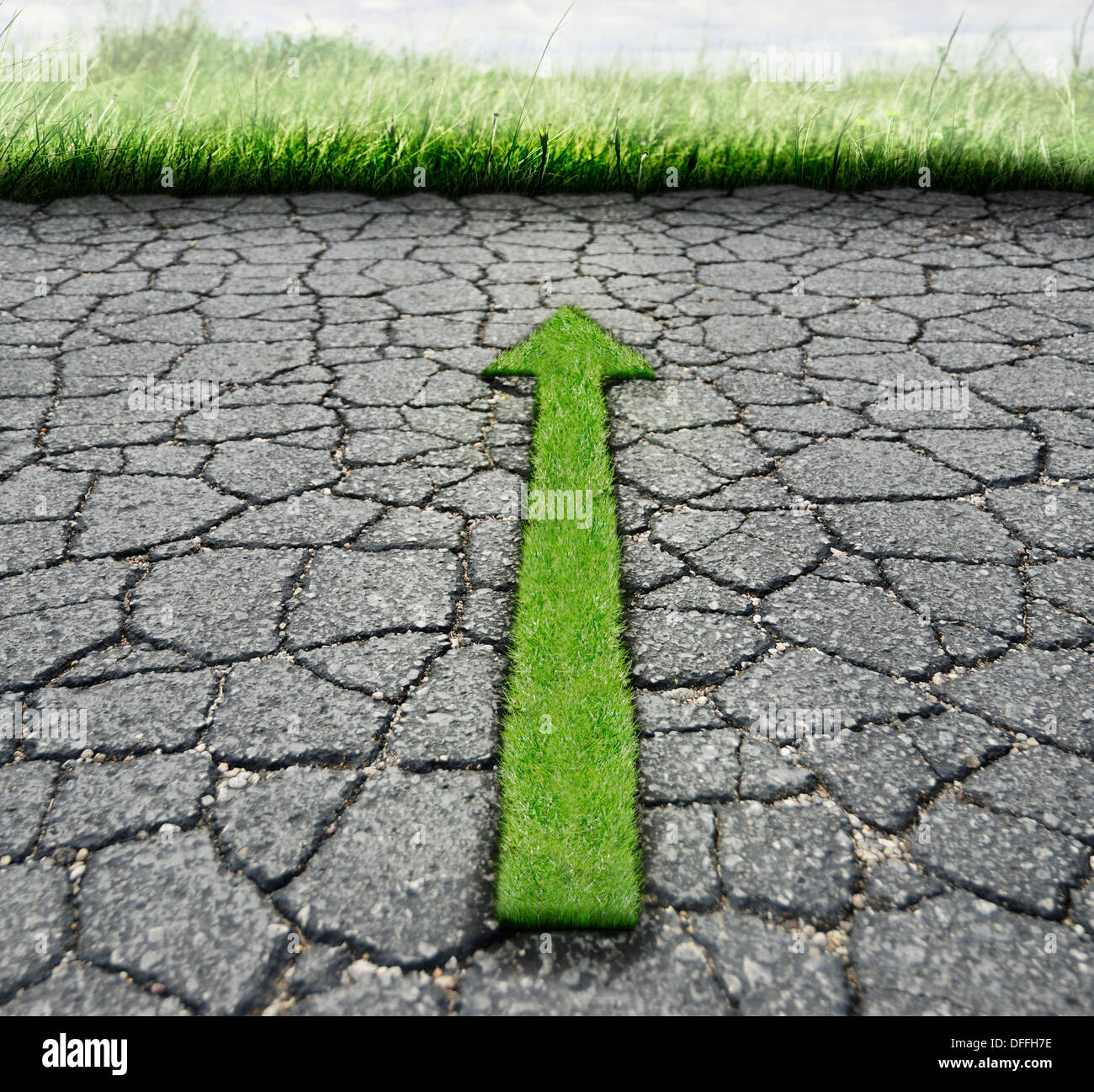 Asphalte brisée et herbe verte.Concept Nature Photo Stock