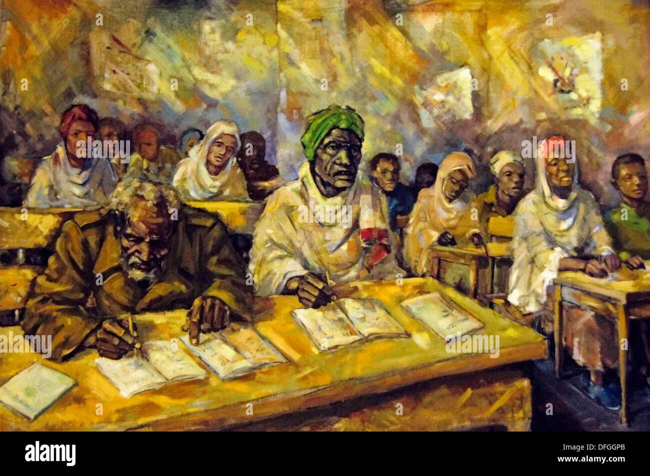 """""""Musée Ethno' à Addis-Abeba: artiste impression d'alphabétisation durant la periode comunist, Ethiopie Banque D'Images"""