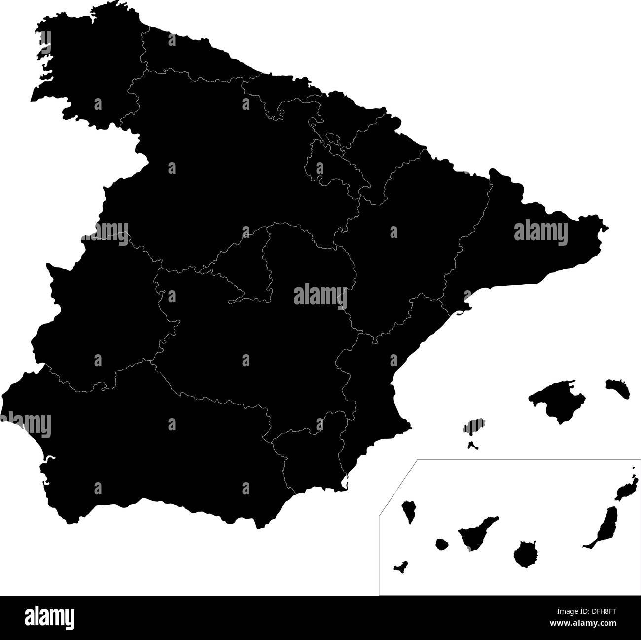 Carte Espagne Noir.Carte De L Espagne Noir Banque D Images Photo Stock
