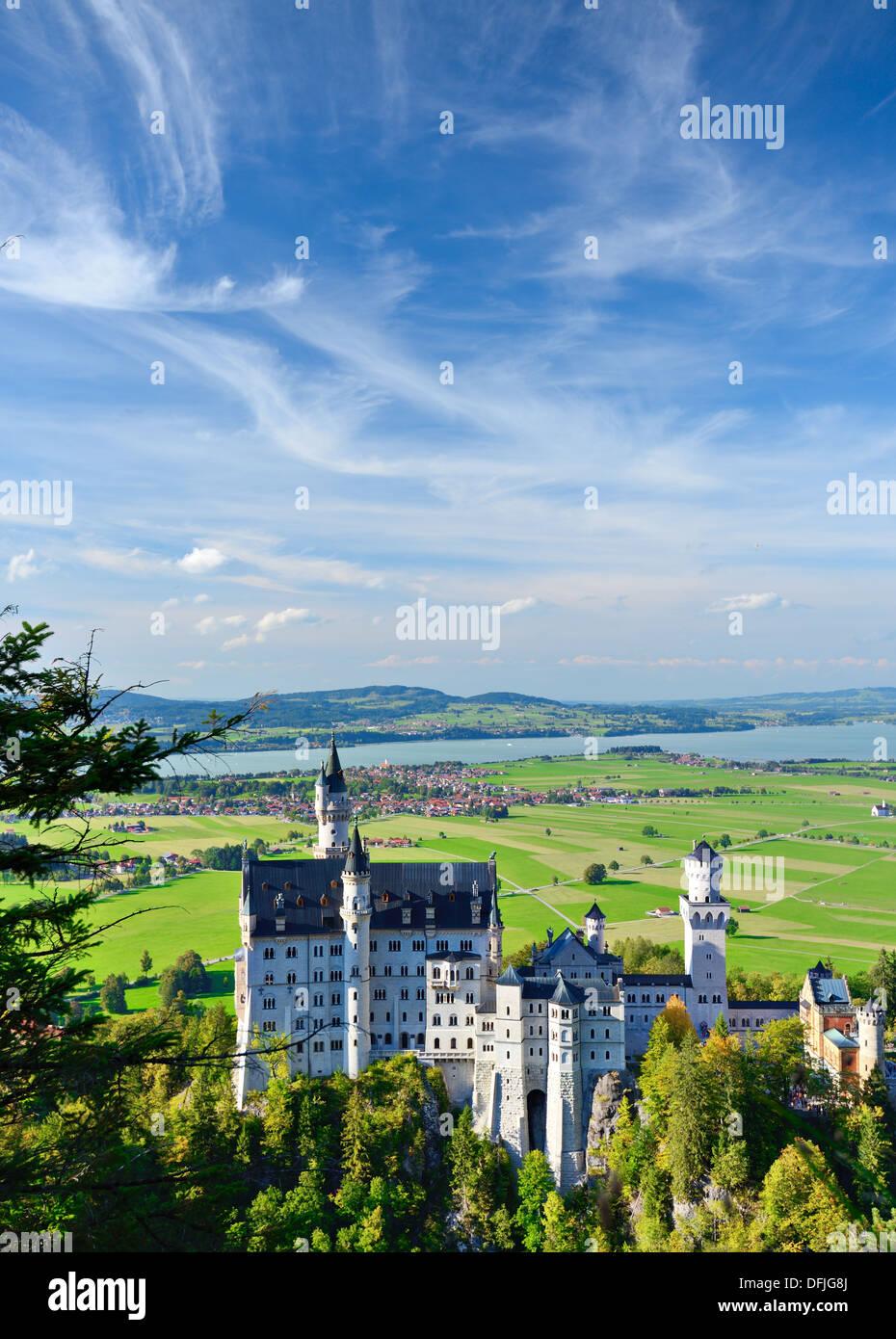 Le château de Neuschwanstein, dans les Alpes bavaroises de l'Allemagne. Photo Stock