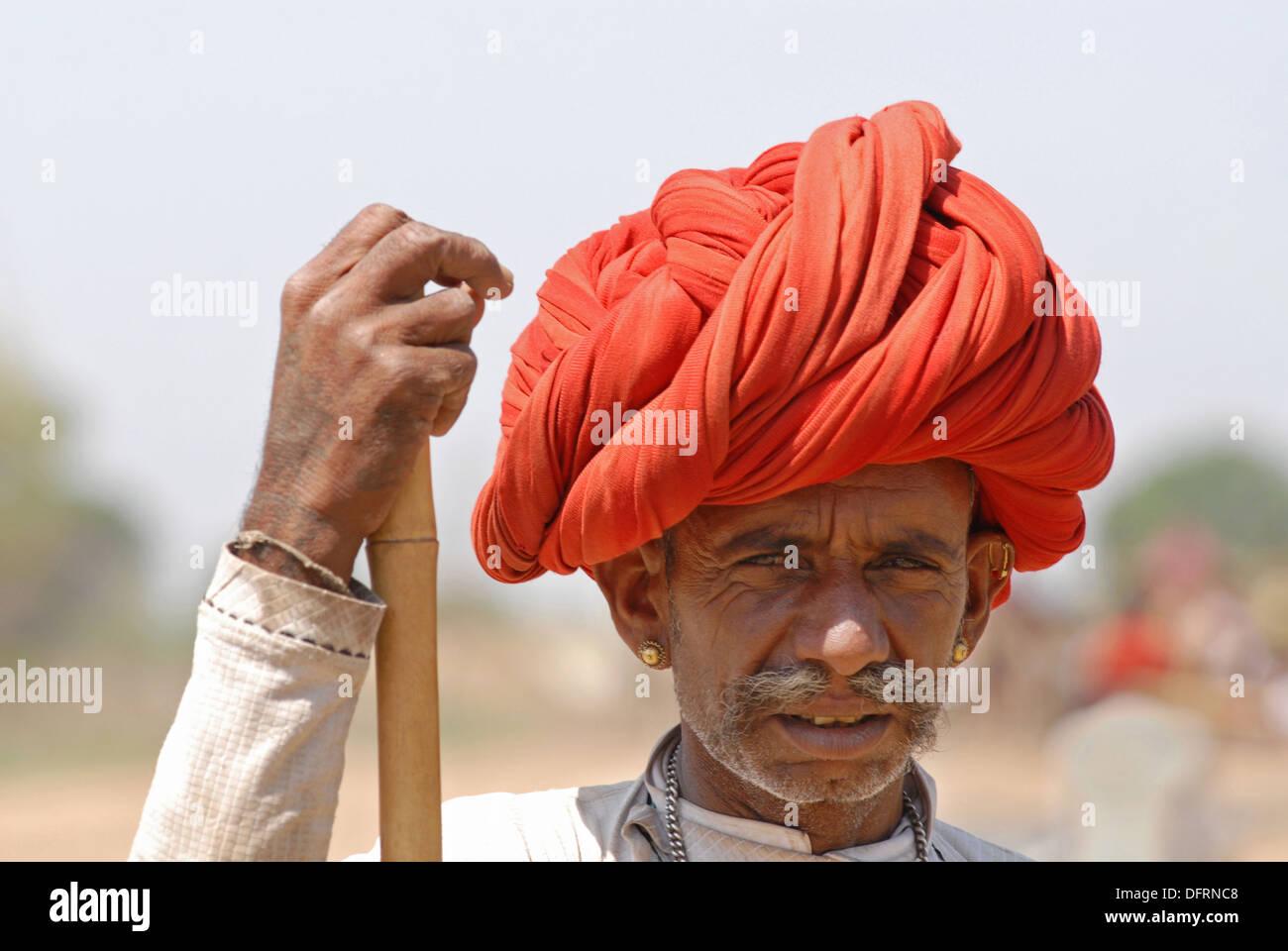Close up d'un homme du Rajasthan. Banque D'Images