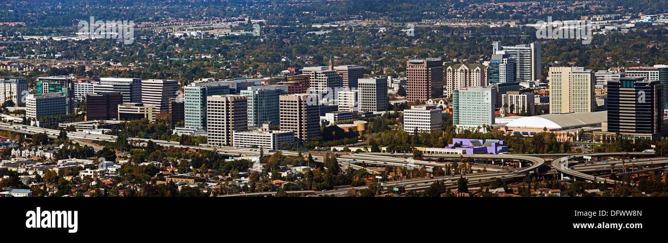 Photographie aérienne San Jose d'horizon, le comté de Santa Clara, Californie Photo Stock