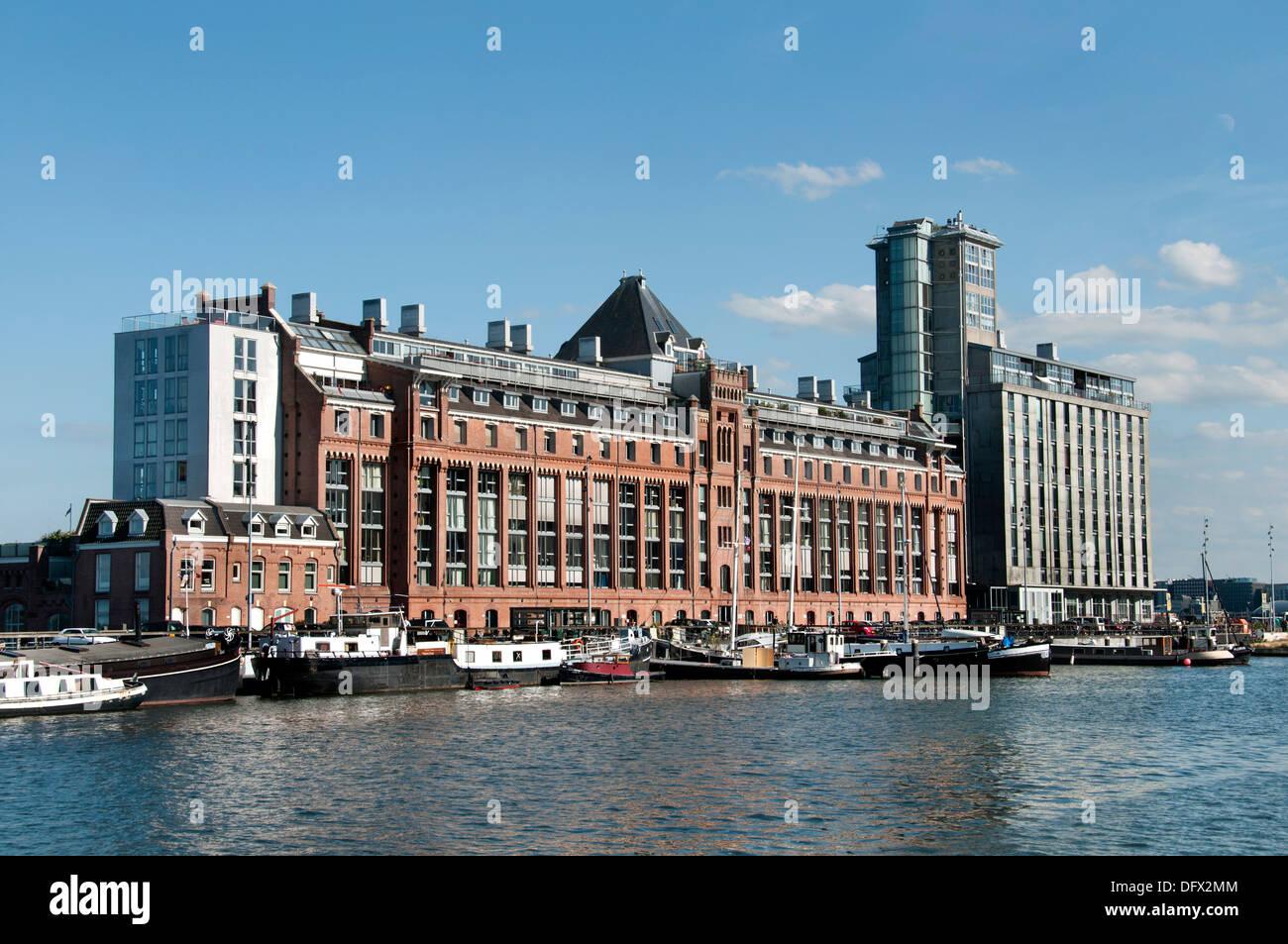 Amsterdam Pays-Bas l'architecture moderne des appartements sur Westerdoksdijkand entre Oude Houthaven et port canal IJ Harbour Photo Stock