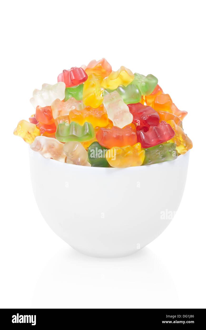 Bol de bonbons ours gommeux Banque D'Images