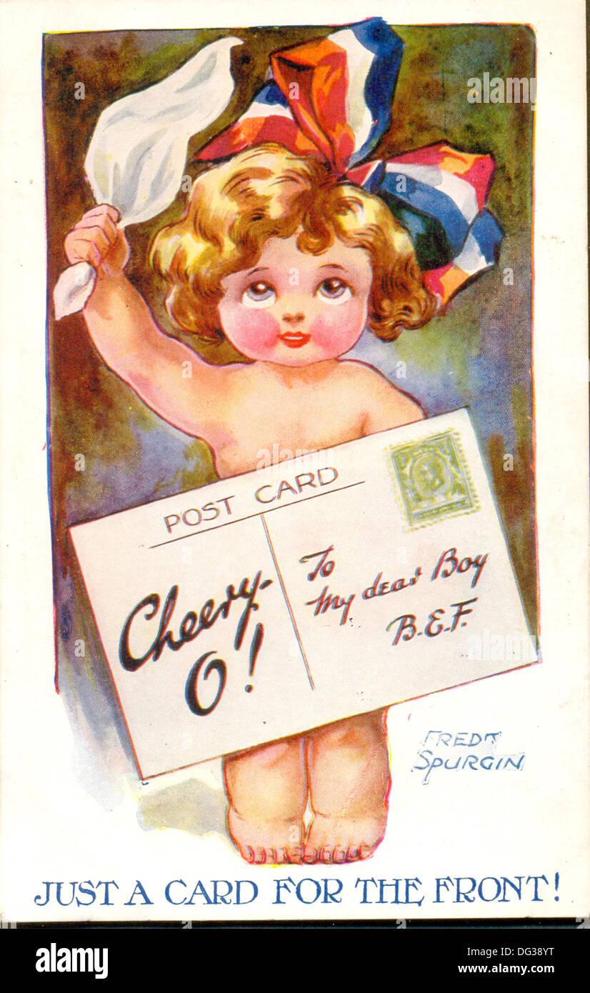 La Première Guerre mondiale carte postale bande dessinée intitulée juste une carte pour l'avant! Par l'artiste Fred Spurgin Photo Stock