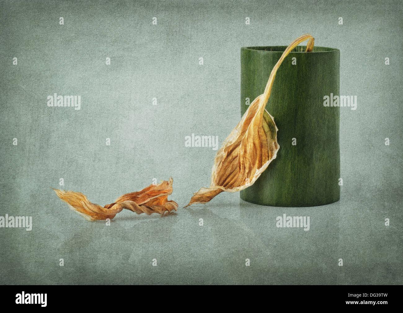 Automne Nature morte avec incrustation de texture granuleuse Photo Stock