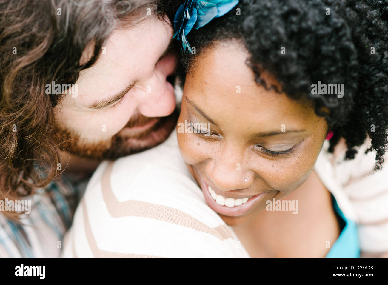Smiling couple interracial, Close Up, High Angle View Photo Stock