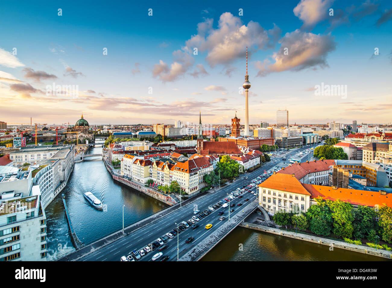 Berlin, Allemagne Vue d'en haut la rivière Spree. Photo Stock